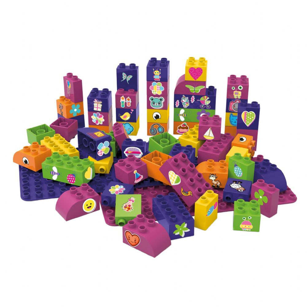 BiOBUDDi - 60 Blocks with 2 baseplates (Purple)